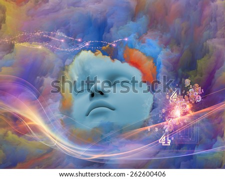 Lucid Dreaming series. Abstract design made of human face and colorful fractal clouds on the subject of dreams, mind, spirituality, imagination and inner world - stock photo