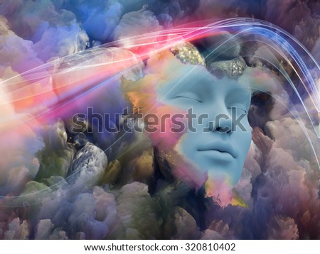 Lucid Dreaming series. Interplay of human face and colorful fractal clouds on the subject of dreams, mind, spirituality, imagination and inner world - stock photo