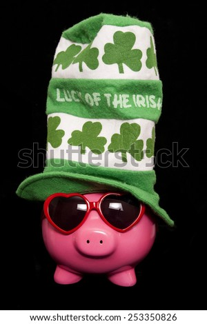 luck of the irish piggy bank cutout - stock photo