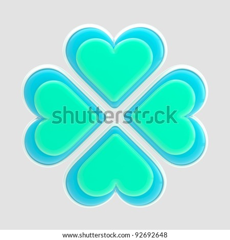 Luck symbol made of four white and blue glossy hearts isolated on grey