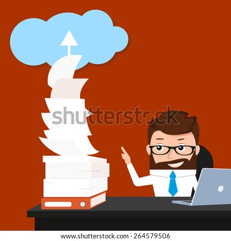 Lucky businessman is synchronizing his work with the cloud. Conceptual illustration. - stock photo