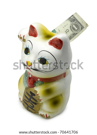 Lucky cat bank maneki neko on white - stock photo