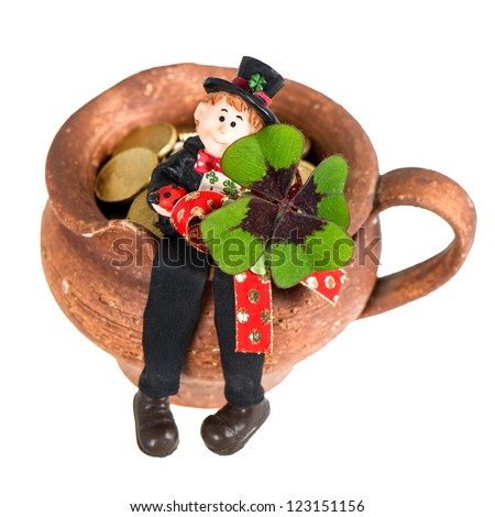 Lucky charm Chimney sweep with clover leaf on white background. Good luck for New Year. Selective focus - stock photo
