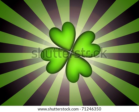 Lucky clover over over green and black lines background. Illustration - stock photo