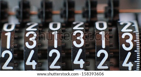 Lucky counter with all thirteen numbers in sequence - stock photo