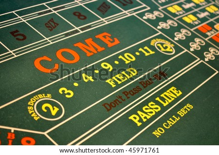 Lucky Craps Table in a Casino Floor - stock photo