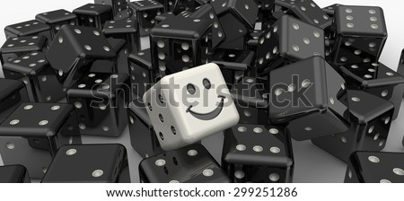 Lucky dice. Heap of black dices as background with white smiley cube - stock photo