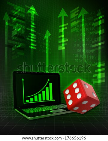 lucky dice with positive online results in business illustration - stock photo