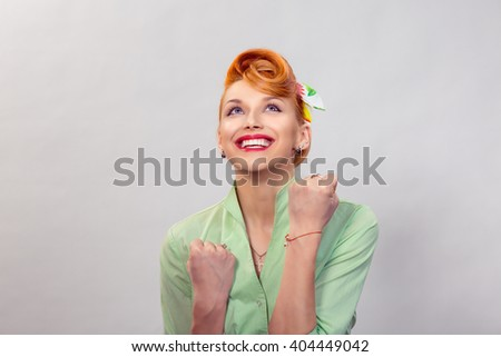 Lucky girl. Closeup portrait happy young woman happy exults pumping fists ecstatic isolated grey white wall background. Celebrate success concept. Human facial expression emotion feeling body language - stock photo