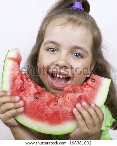 Lucky girl eating watermelon