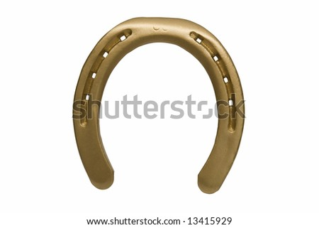 Lucky golden horseshoe isolated over white