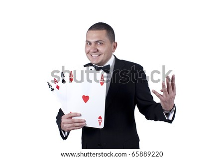 Lucky man holding cards