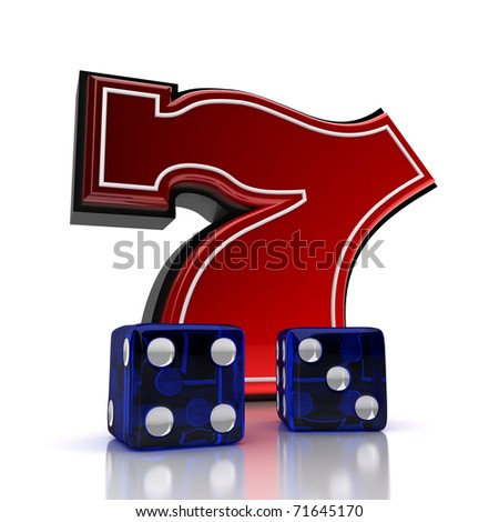 Lucky number seven with dice over white background - stock photo