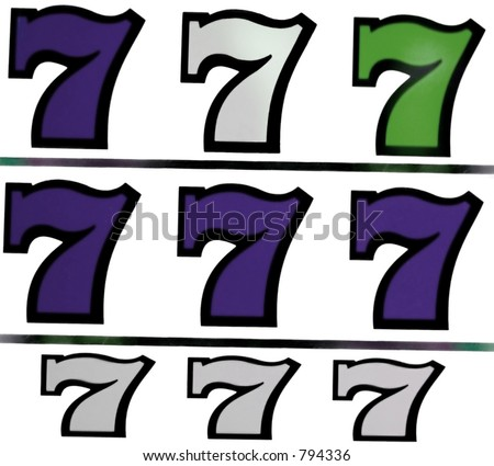 lucky sevens from a slot machine in vegas - stock photo