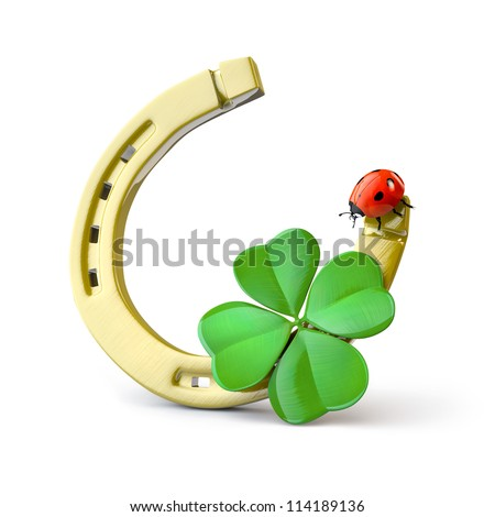 Lucky symbols : horse-shoe,  four-leaf clover and ladybug - stock photo