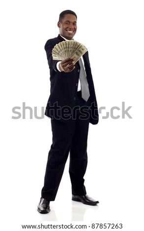 Lucky, wealth black businessman excitedly holding group of hundred dollar bills