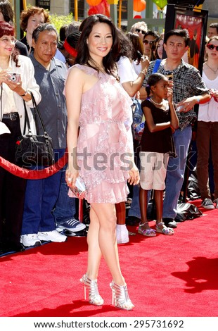"""Lucy Liu attends the Los Angeles Premiere of """"Kung Fu Panda"""" held at the Grauman's Chinese Theater in Hollywood, California, United States on June 1, 2008.  - stock photo"""