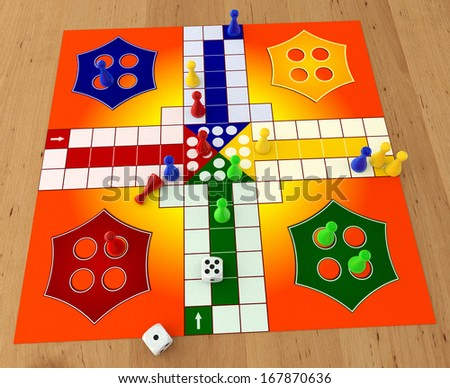 LUDO board game with dices on wooden table - stock photo