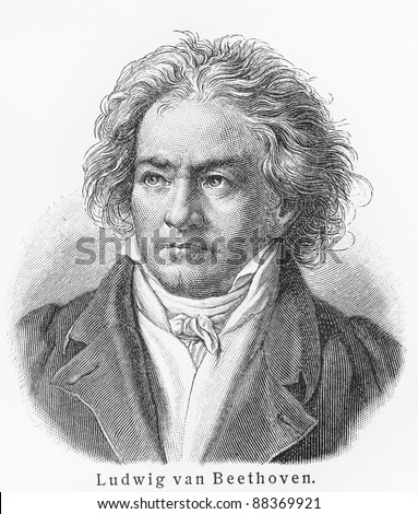 Ludwig van Beethoven -  Picture from Meyers Lexicon books written in German language. Collection of 21 volumes published between 1905 and 1909. - stock photo