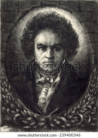 Ludwig van Beethoven (1770-1827). 20th century etching by Wilibald Wolf Rudinoff, 1930. - stock photo