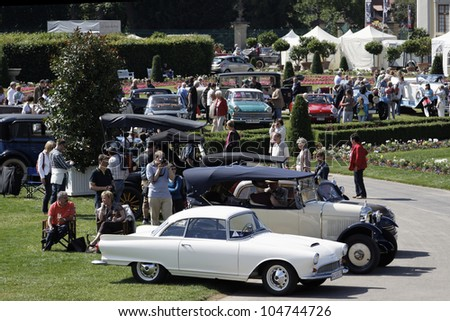 """LUDWIGSBURG, GERMANY - JUNE 09: Car show with classic cars """"Retro Classics meets Barock"""" June 09, 2012 in Ludwigsburg Germany - stock photo"""