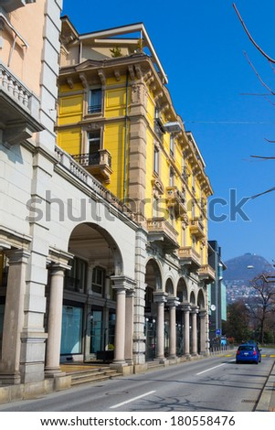 LUGANO, SWITZERLAND - MAR 8, 2014: Downtown in Lugano, Switzerland. Lugano is the largest city of Ticino canton.
