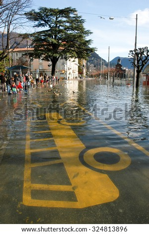 Lugano, Switzerland - 30 november 2002: The inundation of lake Lugano on Switzerland