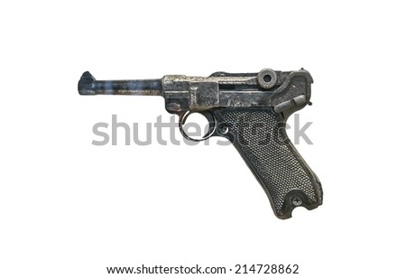 Luger isolated on white. Gun used on the Second World War by the germans. - stock photo