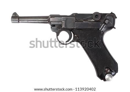 Luger P08 Parabellum handgun isolated - stock photo