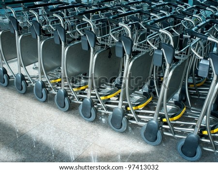 Luggage carts in airport.