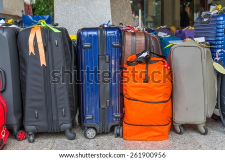 Luggage consisting of large suitcases rucksacks and travel bag. - stock photo