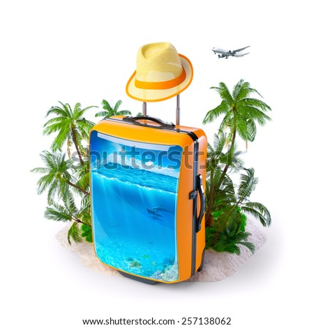 Luggage suitcase with ocean inside. Unusual Tropical background. Traveling - stock photo