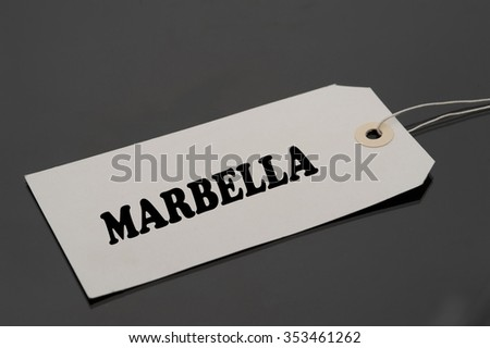 Luggage tag with word MARBELLA