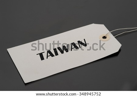 Luggage tag with word Taiwan.