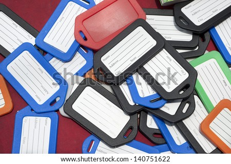 luggage tags labels. - stock photo