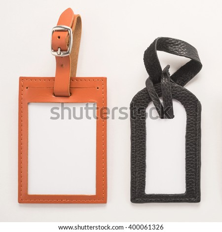Luggage tags on white background   - stock photo