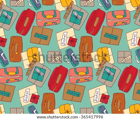 Luggage things boxes suitcase cargo color seamless pattern.  Color illustration.