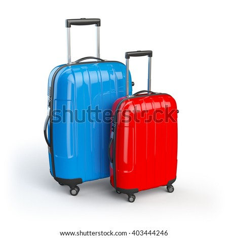 Luggage. Two baggage suitcases  isolated on white. 3d illustration - stock photo