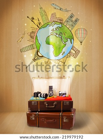 Luggage with travel around the world illustration concept on grungy background - stock photo