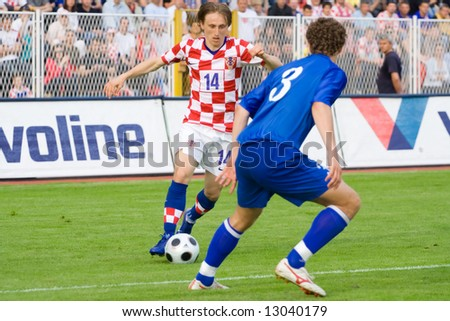 Luka Modric, Croatian footballer who plays for Real Madrid and the Croatia national football team. Modric plays mainly as a central midfielder. - stock photo