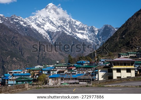 Lukla airport, gateway to Everest base camp, Nepal - stock photo