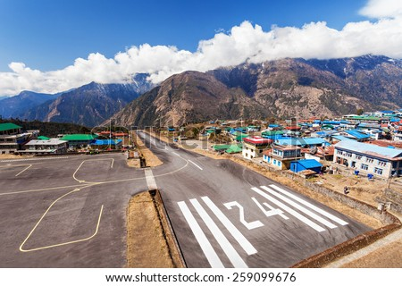 Lukla airport is a start point of Everest trek, Himalaya, Nepal - stock photo