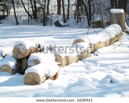 lumber covered with snow - stock photo