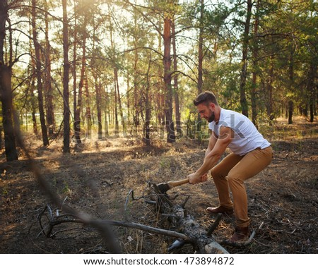 Lumberjack With An Ax And Torso. Stock Image - Image of