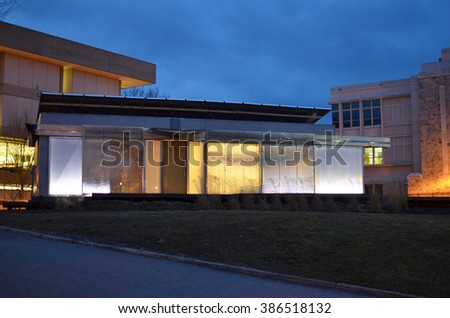 Lumenhaus (efficient green energy smart house) at Virginia Tech seen at night with vivid colors