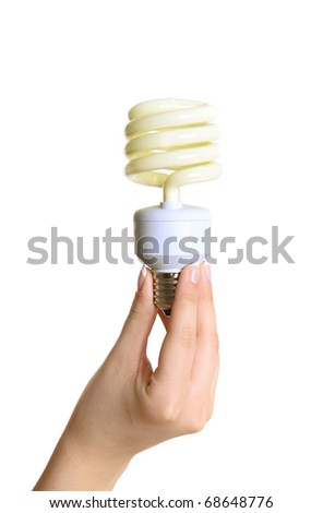 Luminescent saving lamp in a palm - stock photo