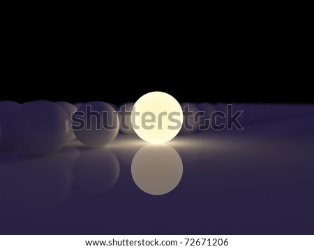 Luminescent sphere on a background ordinary spheres - stock photo