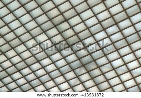 Luminous Ceiling of Grid pattern Lighting  - stock photo