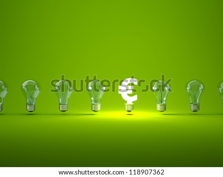 Luminous euro sign  with light bulbs - stock photo