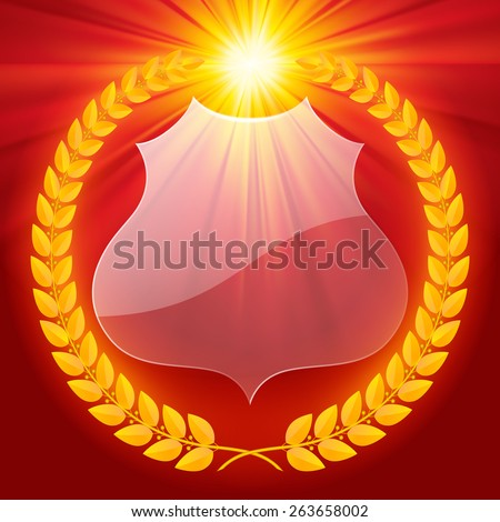 Luminous laurel wreath with transparent badge. Retro design elements. Contain the Clipping Path - stock photo
